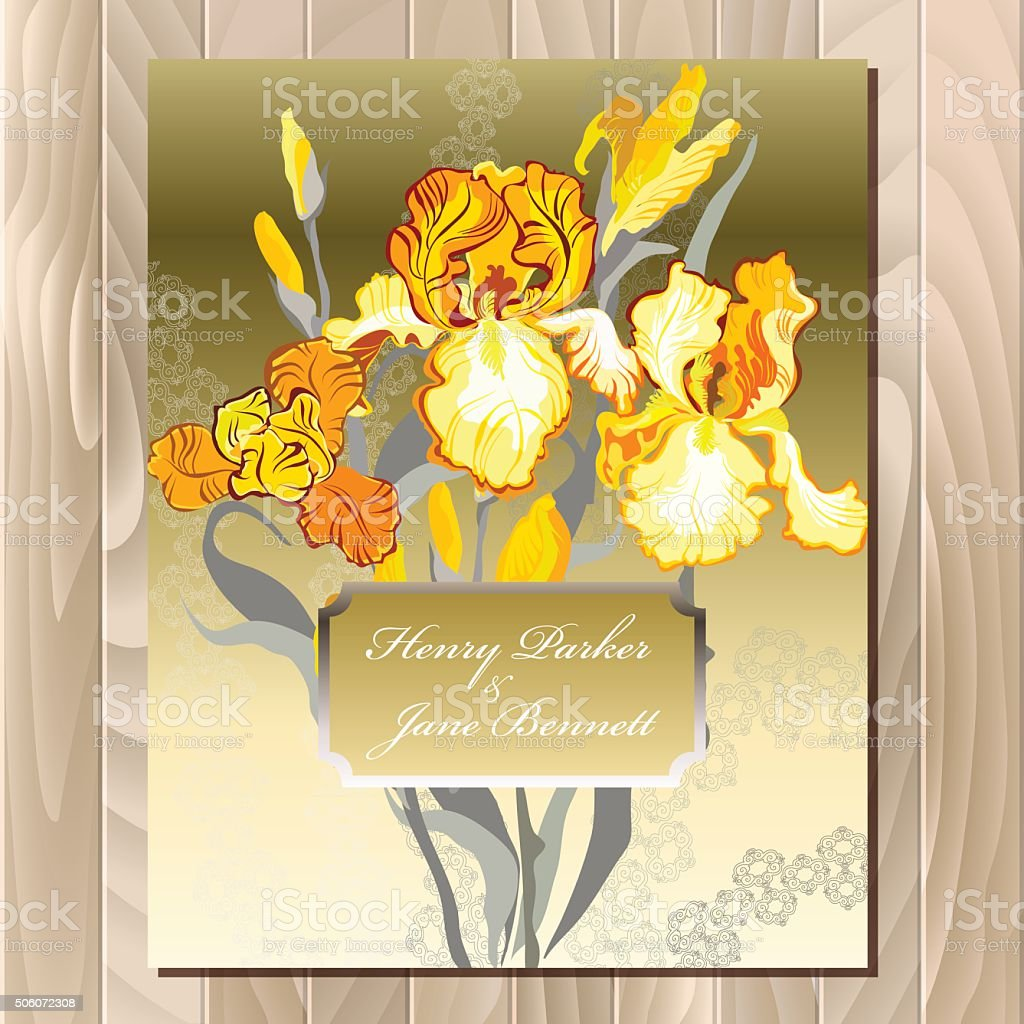 Wedding Card With Yellow Iris Flower Bouquet Background Stock Vector