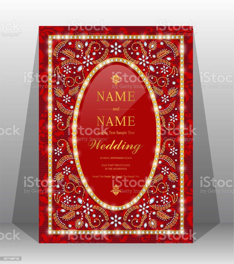 Wedding Cardindian Wedding Invitation Card Templates With Gold ...