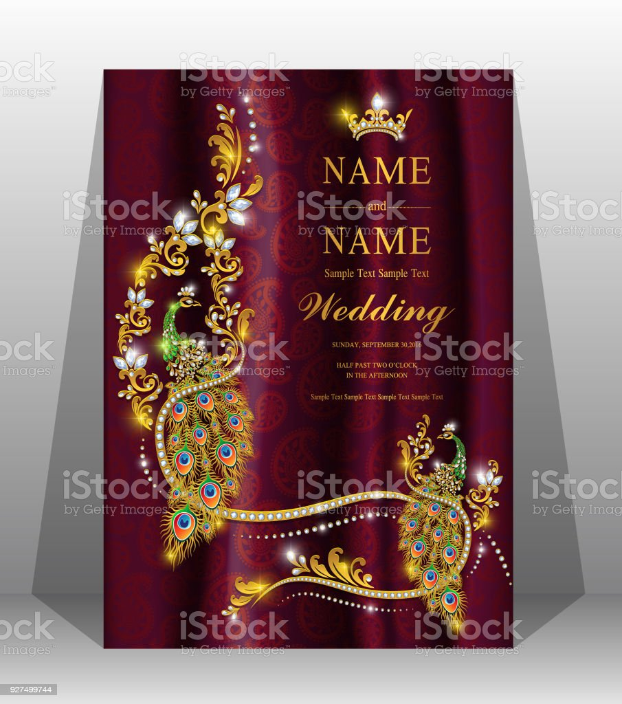 Wedding Cardindian Wedding Invitation Card Templates With Gold Patterned And Crystals On Paper Color Backgrounds 2019858 Stock Illustration Download