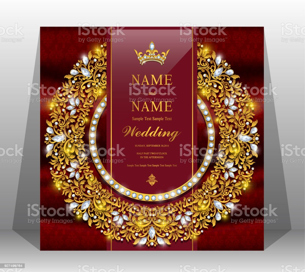 Wedding Cardindian Wedding Invitation Card Templates With Gold ...