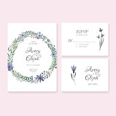 Unique gentle vector wedding cards template with watercolor. Wedding invitation or save the date, RSVP and thank you card for bridal design. Vector watercolor postcard collection with floral decoration.