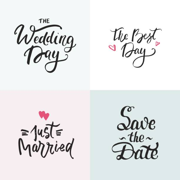 Royalty free silhouette of the wedding stage decoration ideas clip wedding cards collection with handdrawn lettering phrase for wedding invitations vector art illustration junglespirit Images