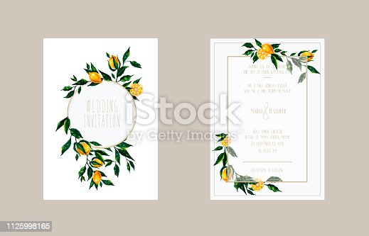 Hand drawn bright illustration with lemon branches for wedding invitation, greeting card, thank ypu card, save the date.