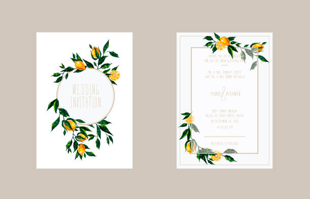 Wedding cards invitation with lemon branches Hand drawn bright illustration with lemon branches for wedding invitation, greeting card, thank ypu card, save the date. citrus fruit stock illustrations