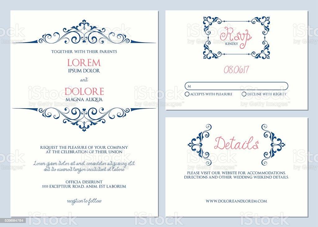 Wedding Cards Kit vector art illustration