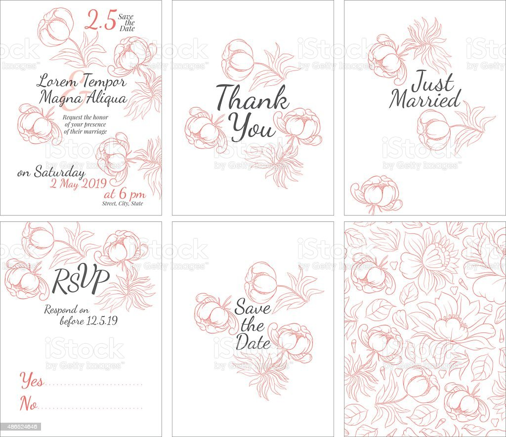 Wedding cards set with vector flower vector art illustration