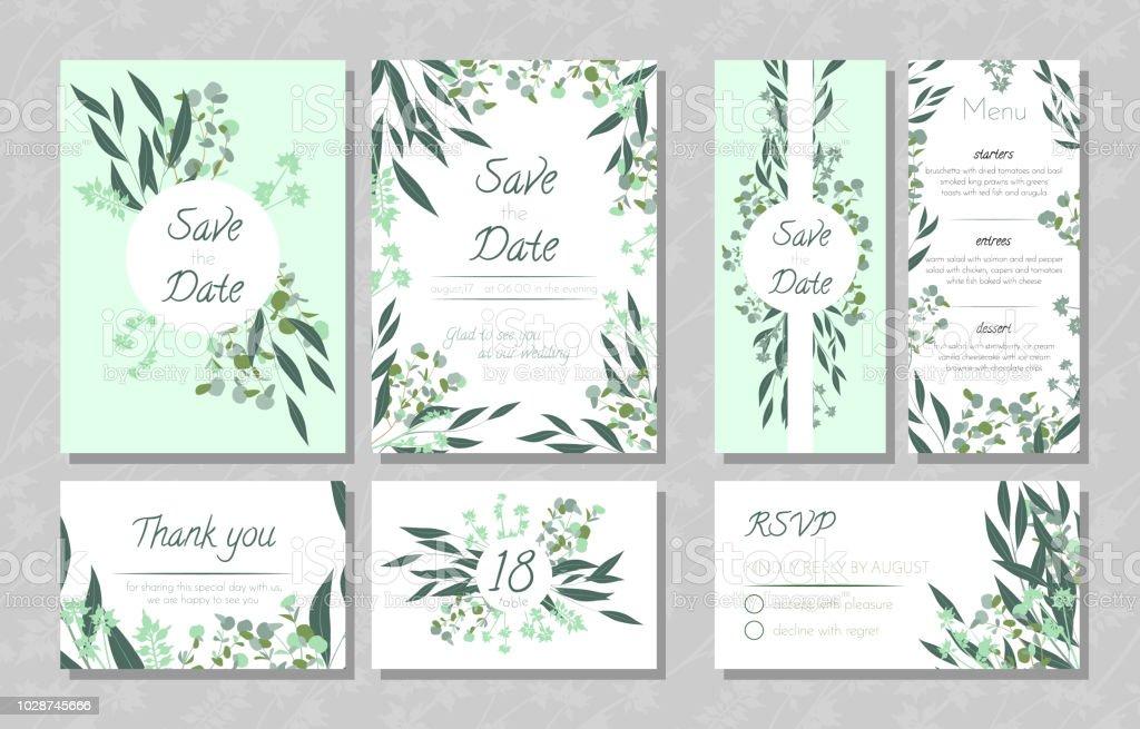 Hochzeitskarten Mit Eukalyptus Stock Vektor Art Und Mehr Bilder Von