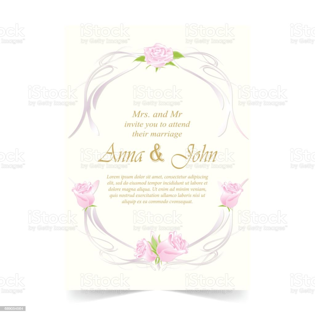 Wedding Care Invitation Card With Rose On Ivory Background