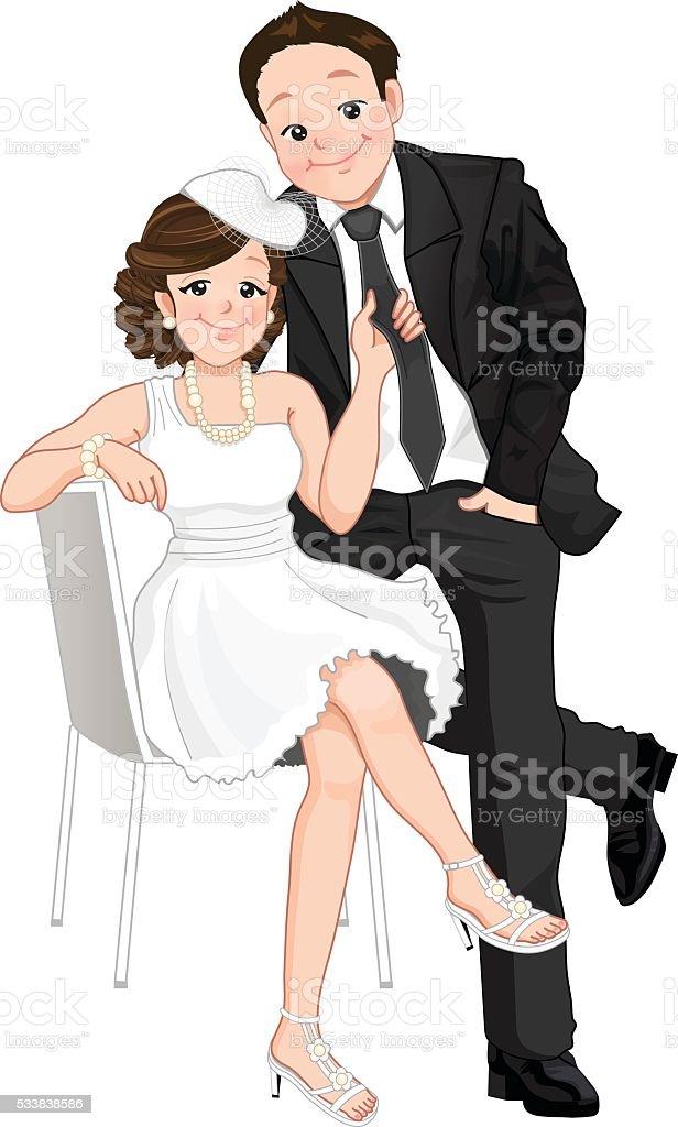 Hochzeit Comic Braut Anziehen Brautigam Krawatte Isoliert Stock