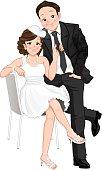 Wedding cartoon, bride pulling on grooms tie, isolated