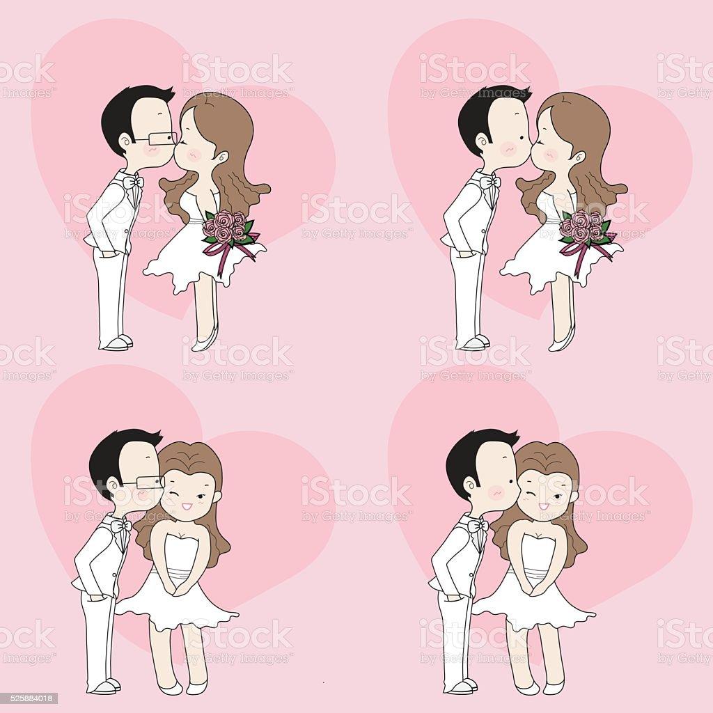 ウェディングカットイラストかわいいカップルのキス - アジア大陸の