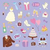 Wedding cartoon icons vector illustration