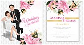 Wedding cartoon invitation card in luxury and modern style.
