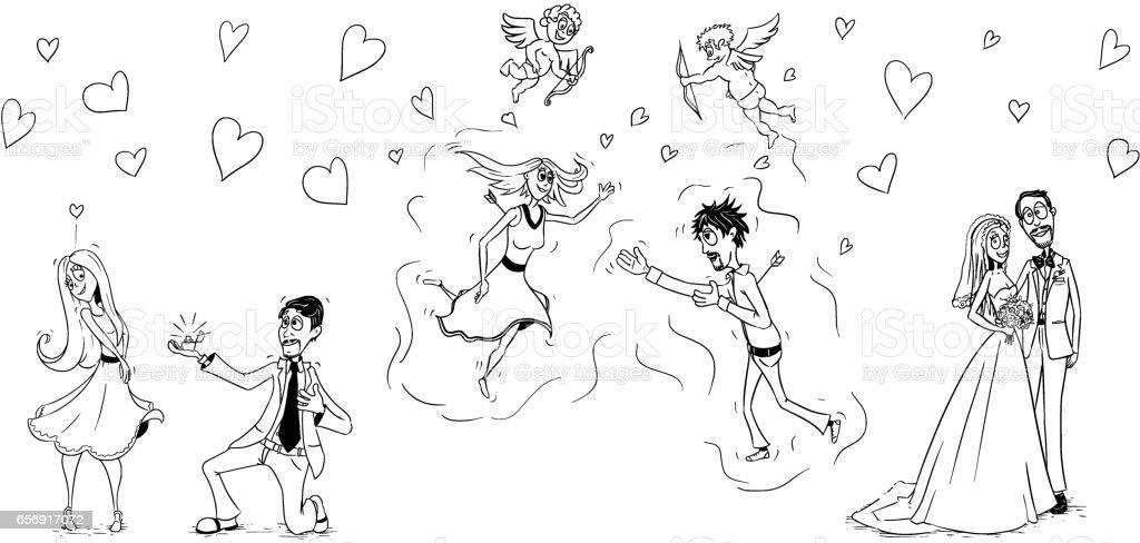 Hochzeit Cartoonvektorset Stock Vektor Art Und Mehr Bilder Von Amor