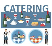 Wedding Catering Services Word Concept Banner. Cartoon Waiter and Waitress Serving Food. Blue Lettering with Drinks and Hot Dishes. Menu Design Elements. Restaurant, Cafe, Cafeteria Poster