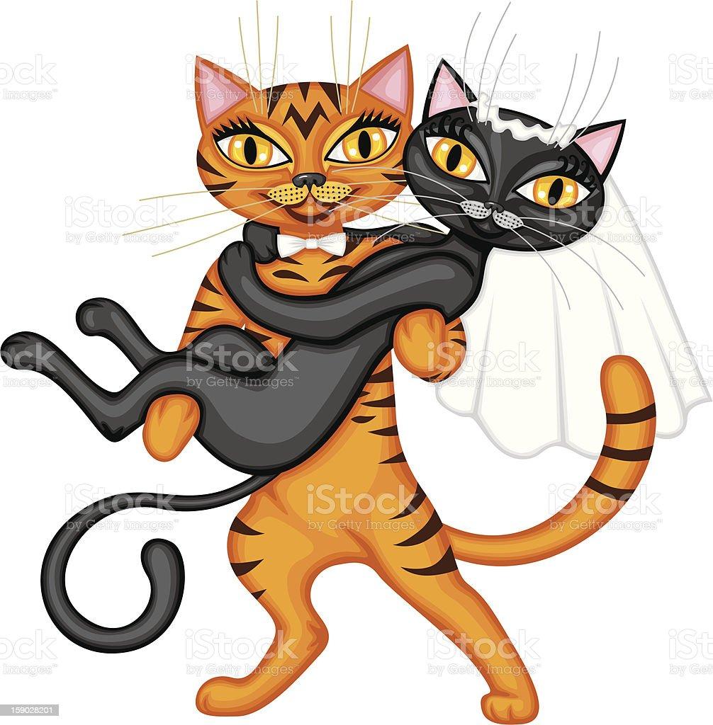 Wedding cats royalty-free stock vector art
