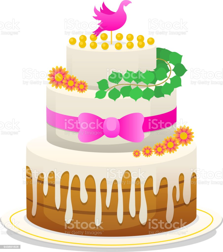 Wedding celebratory cake with flowers bow for the groom and the wedding celebratory cake with flowers bow for the groom and the bride sweet food biocorpaavc Image collections