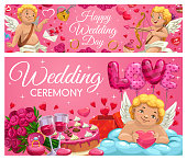 Happy wedding day, Save the Date ceremony cards. Vector cupid with arrow and bow, resting on cloud with heart, love and passion. Engagement ring, flower bouquets and cake, envelope and wine glasses