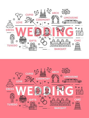 Wedding ceremony line art poster of outline icons