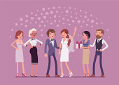 Wedding ceremony, newlywed and guests. Marriage official ceremony, bride and groom on traditional celebration, party for friends and relatives, new family event. Vector flat style cartoon illustration