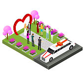 Wedding Ceremony Place with Newlyweds Bride and Groom, Guests and Limousine Isometric View. Vector illustration of Celebration Married