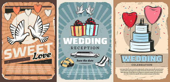Wedding ceremony. Vector gifts, car and cake