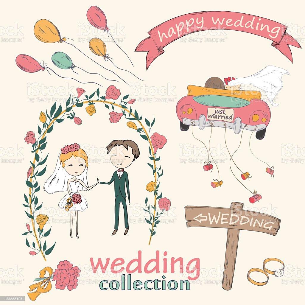 wedding ceremony vector art illustration