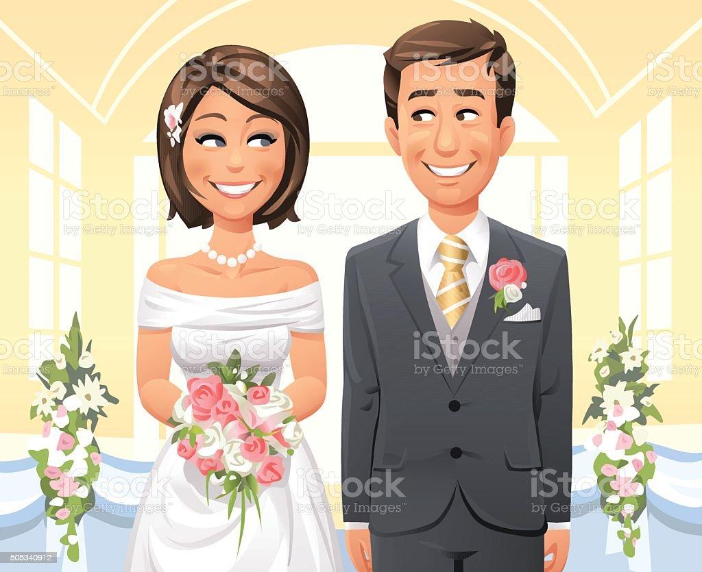 Cerimônia de casamento - ilustração de arte em vetor