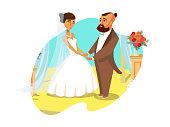Wedding Ceremony Vector Poster, Postcard Concept