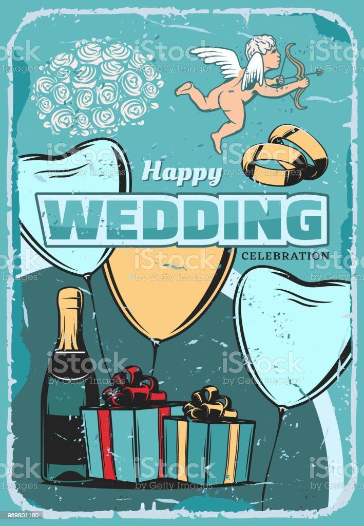 Wedding Ceremony Vintage Greeting Card Design Stock Vector Art