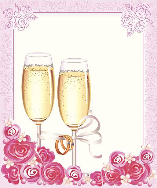 hochzeit champagner-gläser - perlenstrauß stock-grafiken, -clipart, -cartoons und -symbole