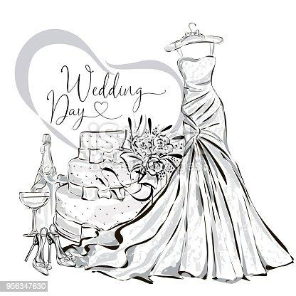 Hochzeit Clipart Set Mit Wunderschonen Brautkleid Hochzeitstorte