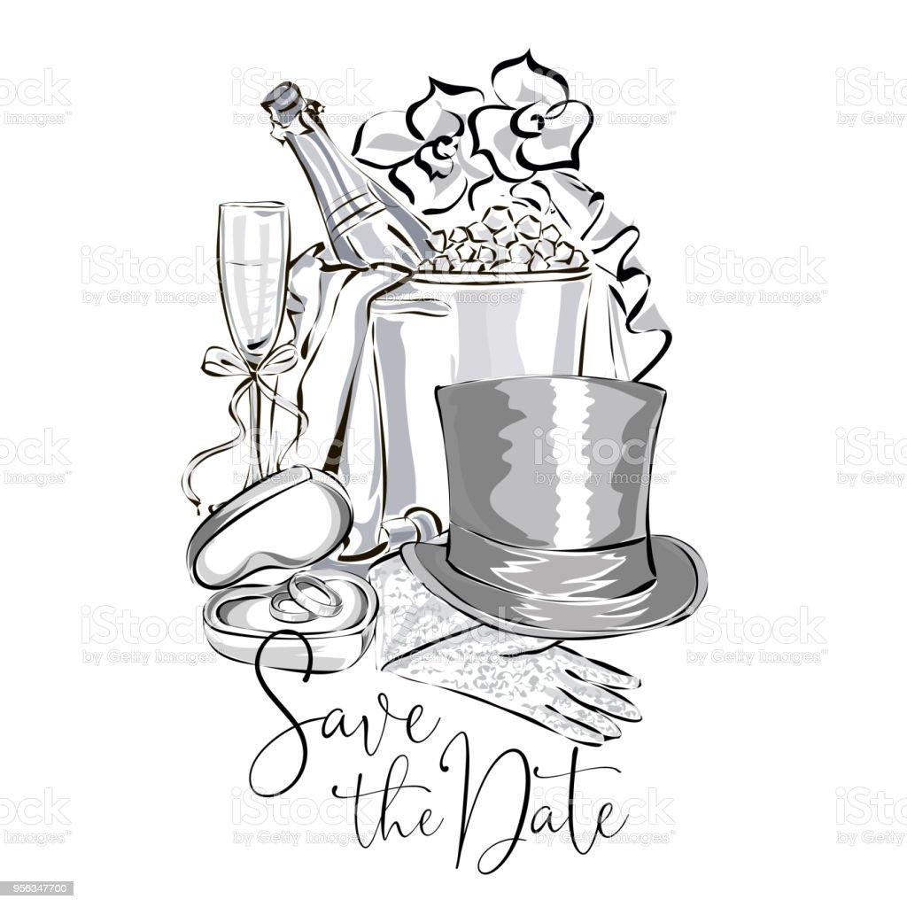Hochzeit Clipart Set Mit Sektflasche Im Eiskubel Weinglas