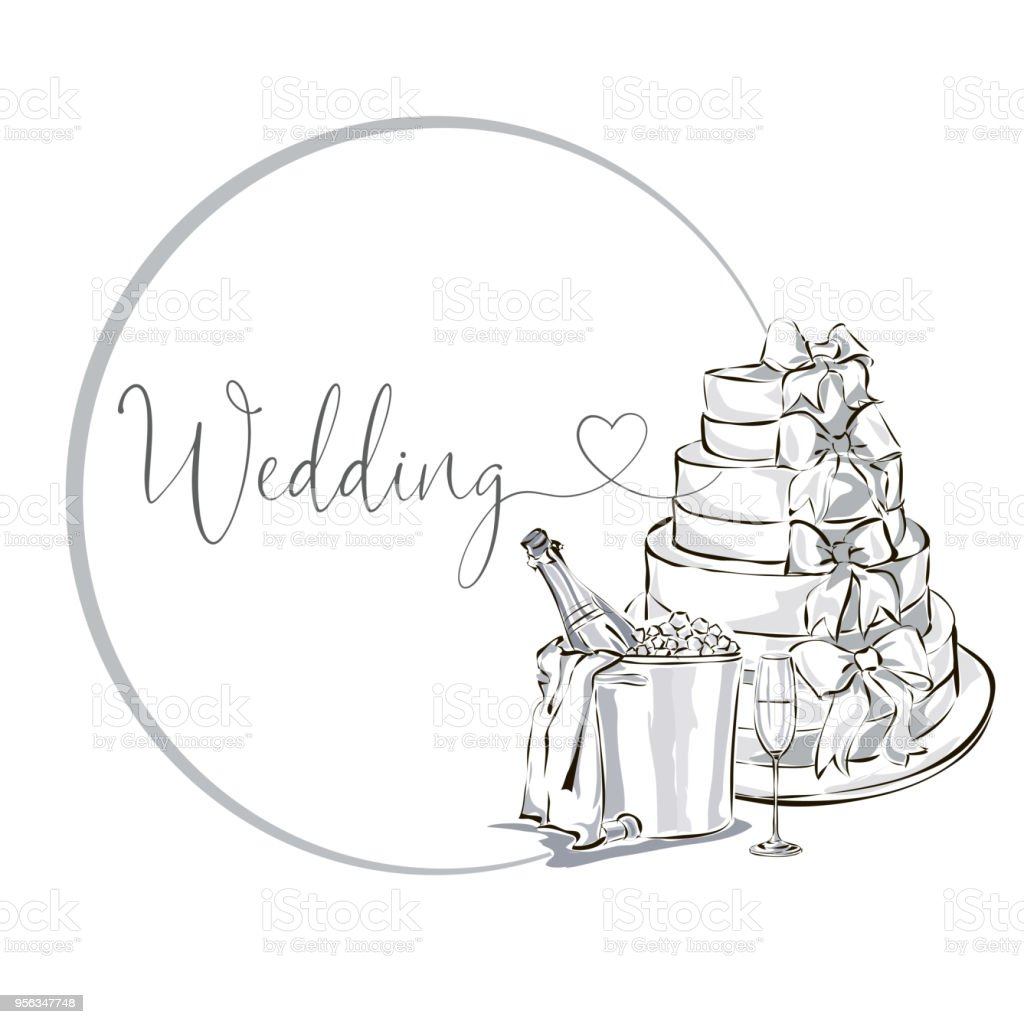 Wedding Clip Art Set With Champagne Bottle In Ice Bucket Wine Glass