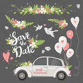 Beautiful wedding clipart set with retro car, flowers, balloons, doves and hearts. Save the date lettering. Vector illustration.