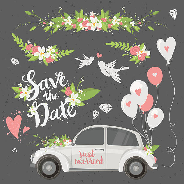 clipart ensemble de mariage - Illustration vectorielle