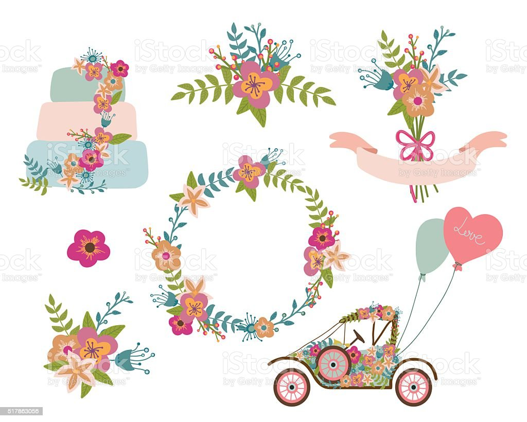 Hochzeitkollektion Kranz Blumen Retro Auto Hochzeitstorte Vektor