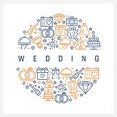 Wedding Concept - Colorful Line Icons, Arranged in Circle