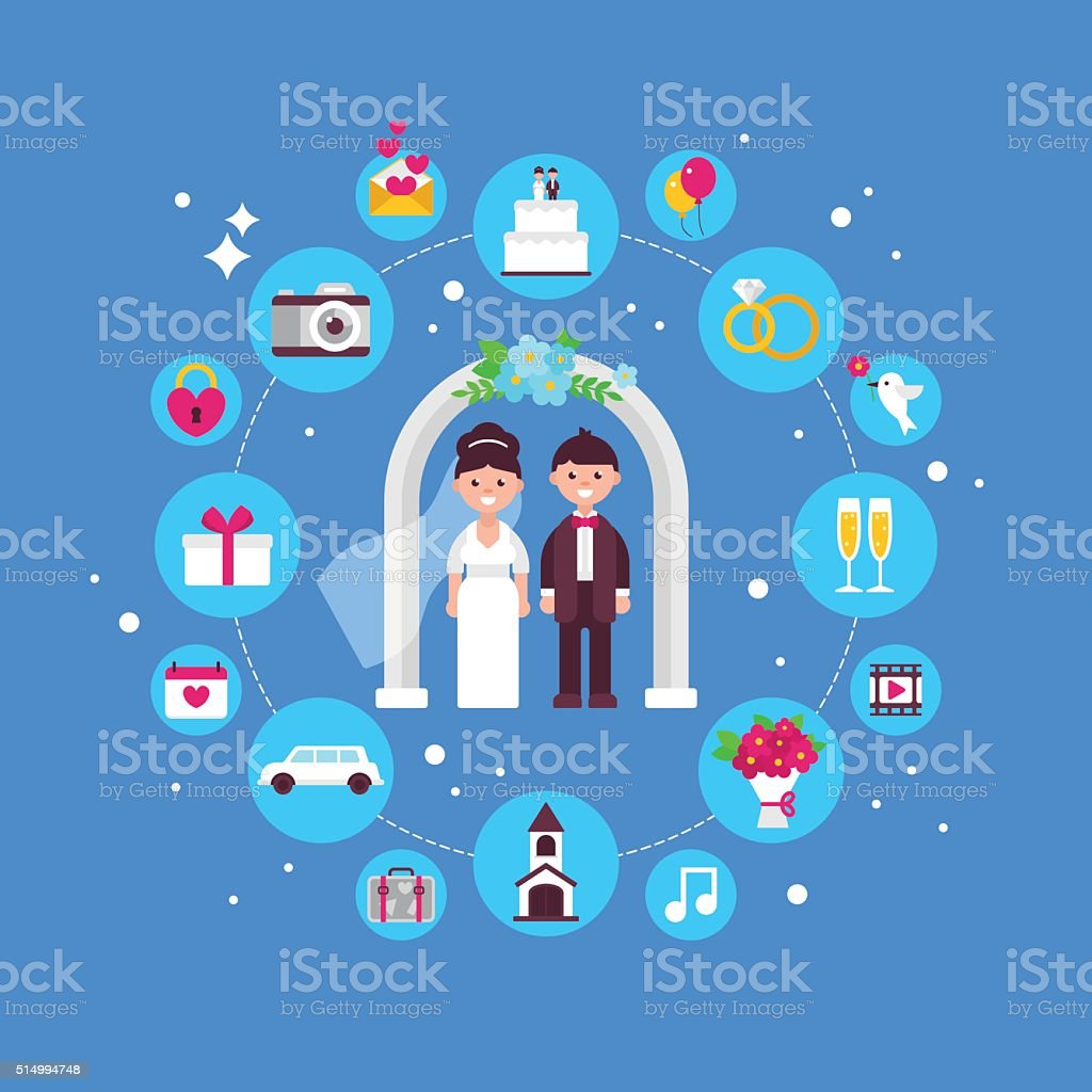 Wedding concept design with flat icons. Isolated vector vector art illustration