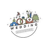Wedding Concept Flat Line Icons