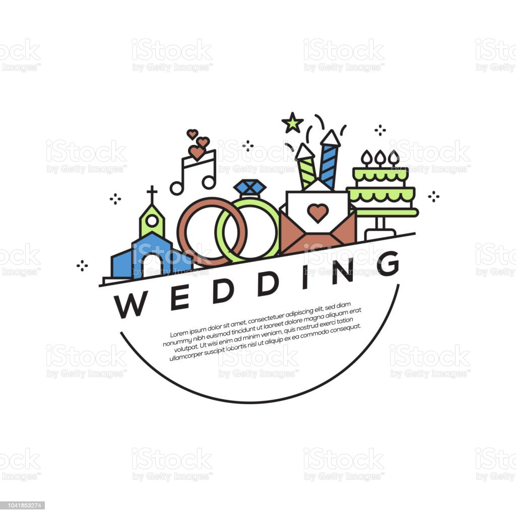 Wedding Concept Flat Line Icons vector art illustration