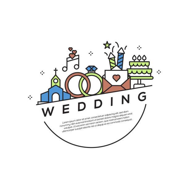 wedding concept flat line icons - wedding stock illustrations, clip art, cartoons, & icons