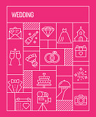 Wedding Concept. Geometric Retro Style Banner and Poster Concept with Wedding Related Line Icons