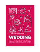 Wedding Concept Line Style Cover Design for Annual Report, Flyer, Brochure.