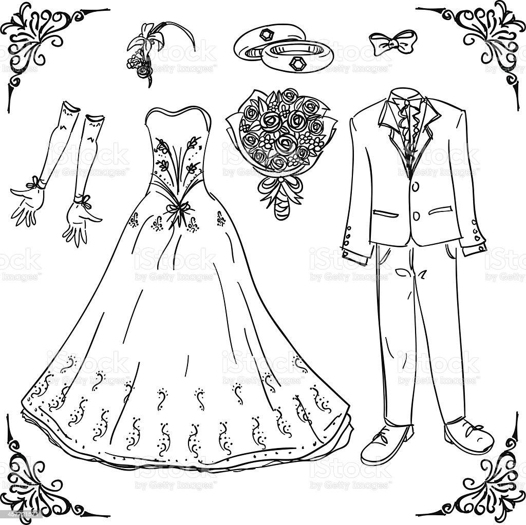 Hochzeit Kostüm In Schwarz Und Weiß Stock Vektor Art und mehr Bilder ...