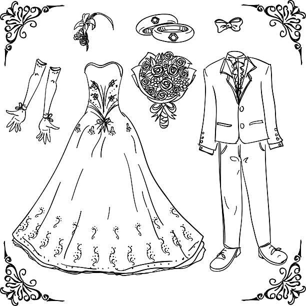 hochzeit kostüm in schwarz und weiß - rosenhochzeitskleider stock-grafiken, -clipart, -cartoons und -symbole