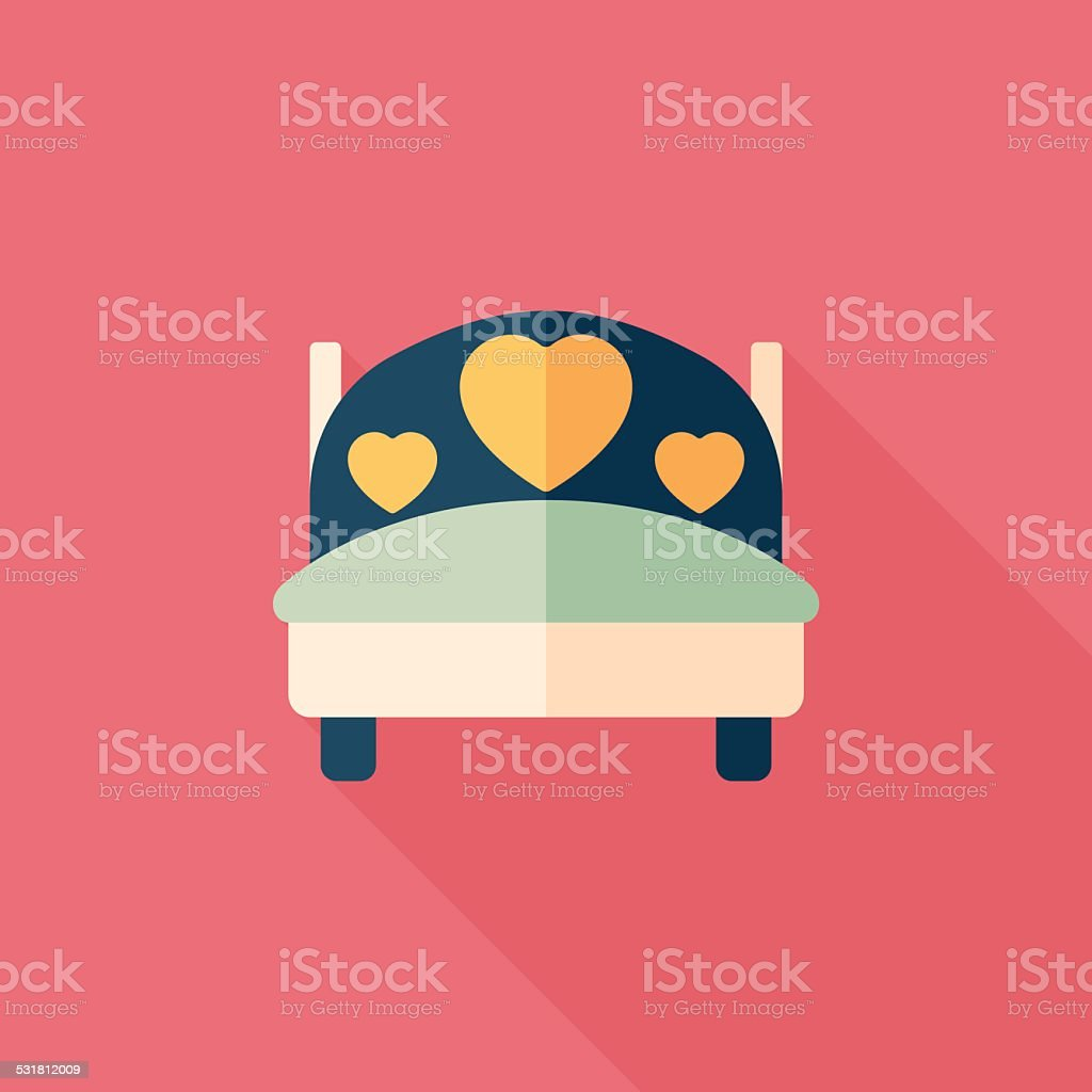 wedding couple bed flat icon with long shadow,eps10 vector art illustration