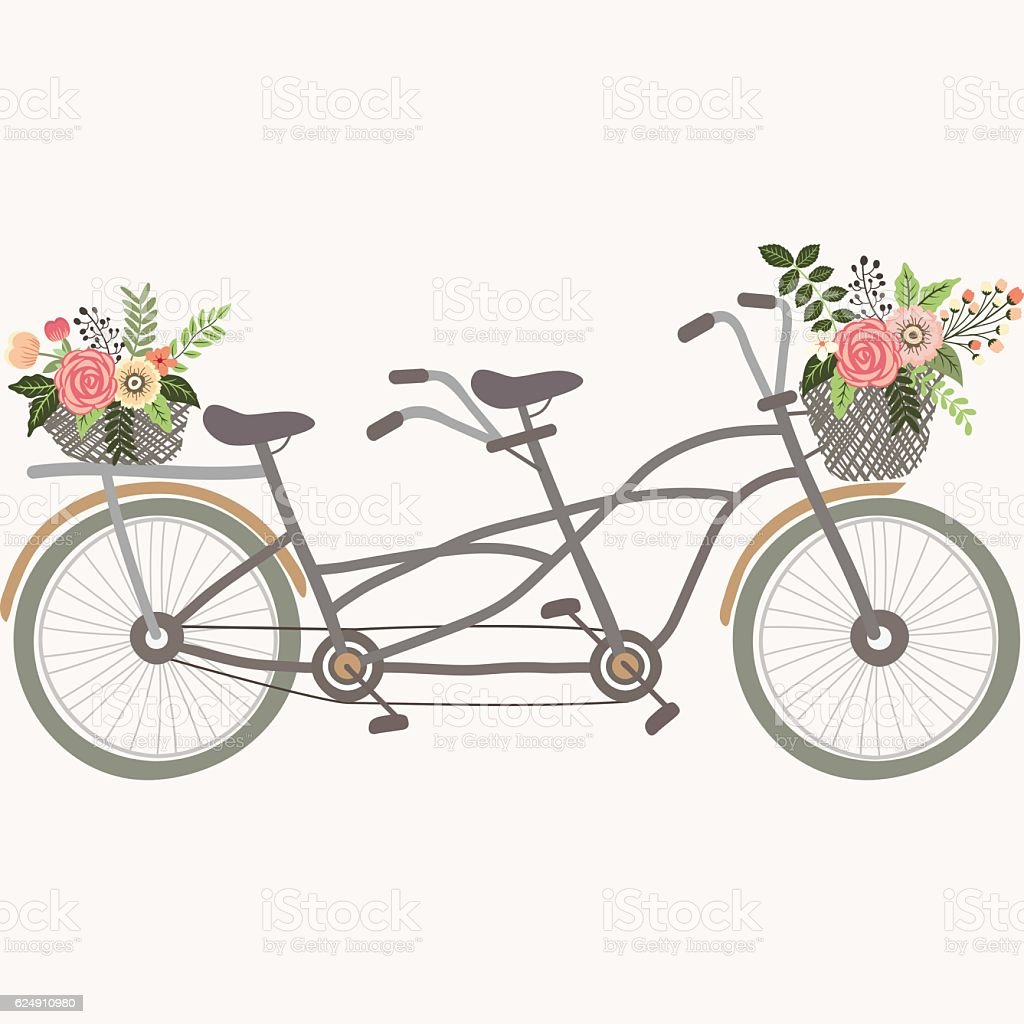 Wedding Couple Bicycle with Flowers vector art illustration