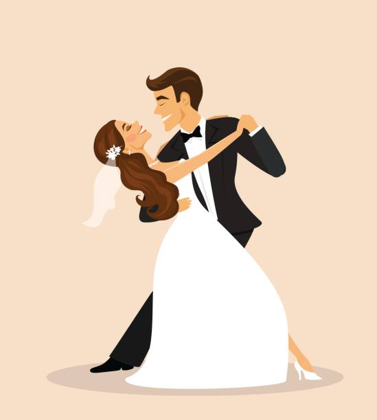 Wedding couple, bride and groom dancing Wedding couple, bride and groom dancing bridegroom stock illustrations