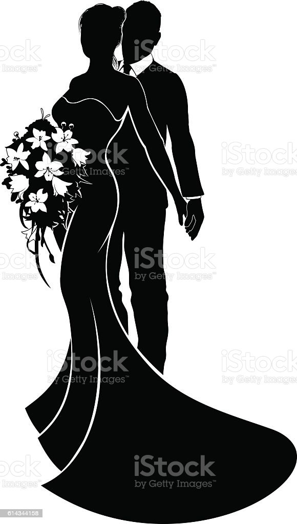 Wedding Couple Bride And Groom Silhouette stock vector art ...